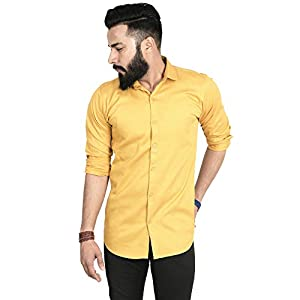 SANGAM Men Casual Shirt | Full Sleeves Formal Slim Fit Plain Office Shirts for Men | Cotton, (Pack of 1)