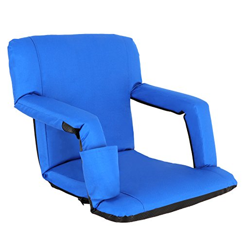 Nova Microdermabrasion Portable Stadium Seat Chair Reclining Seat for Bench Bleachers W/Padded Cushion Shoulder Straps - 6 Reclining Positions - Water Resistant (Blue)
