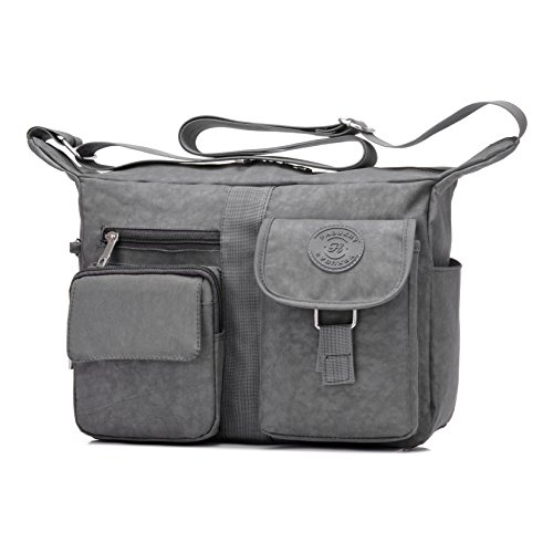 Women's Shoulder Bags Casual Handbag Travel Bag Messenger Cross Body Nylon Bags Gray