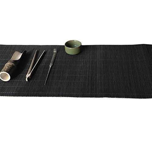 Tea Talent Handmade Natural Bamboo Sticks Tablemat Decor Kungfu Tea Set Slat Mat Placemat Tea Table Runner 12 By 70-inch, Black