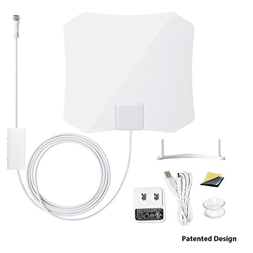 ANTOP Amplified Digital TV Antenna Indoor 30/45 Mile Long Range with Built-in Smart Switch Amplifier AND 10ft Coaxial Cable - Online Tiffany Co &