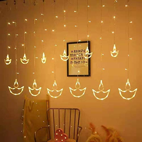 Quace 12 Stars Curtain String Lights, Window Curtain Lights with 8 Flashing Modes Decoration for Christmas, Wedding…