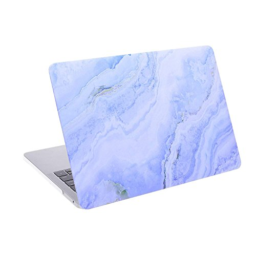 COSMOS Rubberized Plastic Hard Shell Cover Case for New MacBook Pro 13 inches (Model: A1706 & A1708, Released in 2016), Light Blue Marble Pattern (Light Blue Marble Pattern)