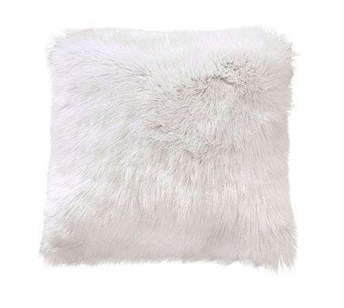 Ojia Deluxe Home Decorative Super Soft Plush Mongolian Faux Fur Throw Pillow Cover Cushion Case (20 x 20 Inch, White)