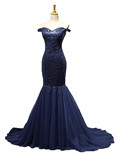 KAMA BRIDAL Women´s Long Tulle Mermaid Prom Dresses Sequins Evening Gowns US16