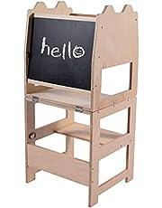 LOMOS Kökshjälp lärande torn för barn av trä med tavla, (B/D/H: 42 x 39 x 92 cm)
