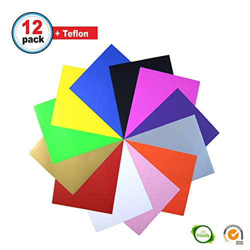 HTV Heat Transfer Vinyl Bundle 12'' x 10'' - 12 Sheets for Iron On T-Shirts - Assorted Colors: Black, White, Gold, Silver, Neon & More - Best for Silhouette Cameo and Cricut - Teflon Included by Quick Craft USA