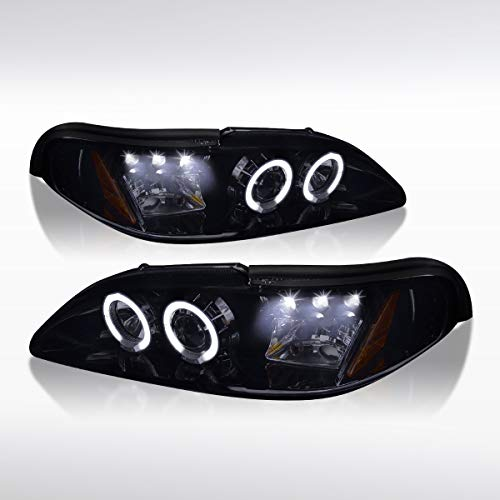 Autozensation For Glossy Black Mustang LED Halo Projector Headlights Smoke Head Lamps Pair