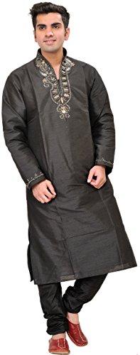 Exotic India Black Wedding Kurta Pajama With Beads-EMBR Size 40 by Exotic India