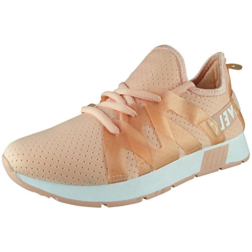 Loud Look Ladies Running Trainers Womens Fitness Gym Light Sports Comfy Slip On Shoes Size 3-8 Pink 1FVCc7