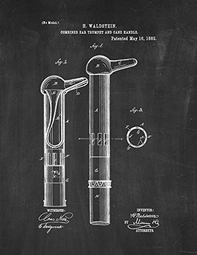 Used, Combined Ear-Trumpet and Cane-Handle Patent Print Chalkboard for sale  Delivered anywhere in USA