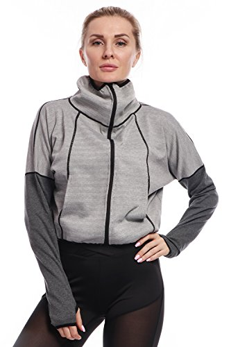 Textured Cropped Jacket (AmeSport Women's Workout Casual Loose Track Jacket Zip Up Crop Top Long Sleeve Cowl Neck With Thumb Hole - Light Grey, M)