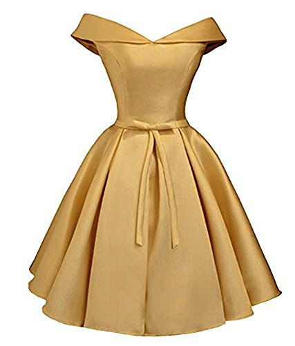 Lilyla Women's Simple Cold Shoulder Juniors Homecoming Dress A Line Satin Prom Bridesmaid Dresses Gold US10 ()