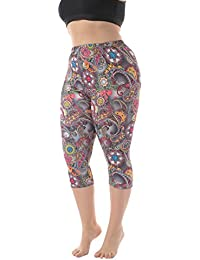 Women's Plus Size Lightweight Printed Capri Leggings for...