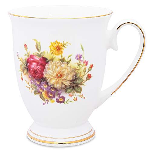 Flower Coffee Mug Tea Cup Royal Fine Bone China Mug Gift for Mom Friends-yellow flower