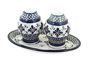 Polish Pottery Mosaic Flower Salt &Pepper Shaker with Dish