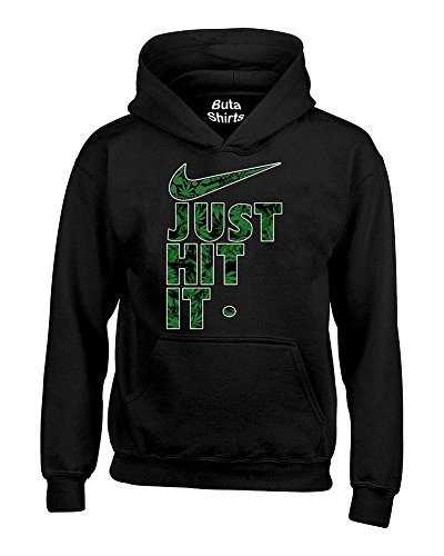 Just Hit It Weed Pattern Funny Marijuana Weed Smoking 420 Parody Hoodie (Weed)