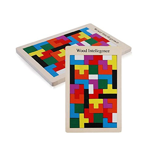 Brain Tetris Block , Early Education 40-PCS Colorful Wooden Tangram Jigsaw Puzzles Intelligence Puzzle for Preschool Children Kids (B) (Plastic Tangram)