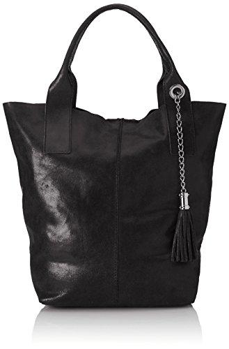 poignées bandoulière Noir Italie semi Fabriqué brillant avec en Sac à véritable 39x36x20cm cuir pour MC Nero femmes 100 AUnqnYwa5