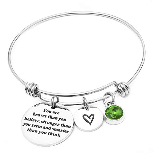 LIUANAN Stainless Steel Adjustable Birthstone Bracelets Charm Bangle Inspirational Jewelry Gifts for Women Girls