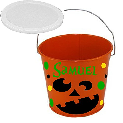 De La Design Gifts Personalized Halloween bucket orange with pumpkin face, name and polka dots, 5 quart metal with plastic lid