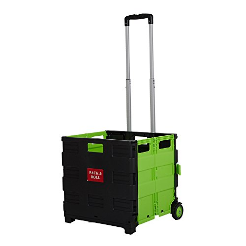 Dporticus Folding Two-Wheeled Trolley Hand Cart Plastic Hefty Heavy Carry Shopping Picnic Travel Office (Green/Large) by Dporticus