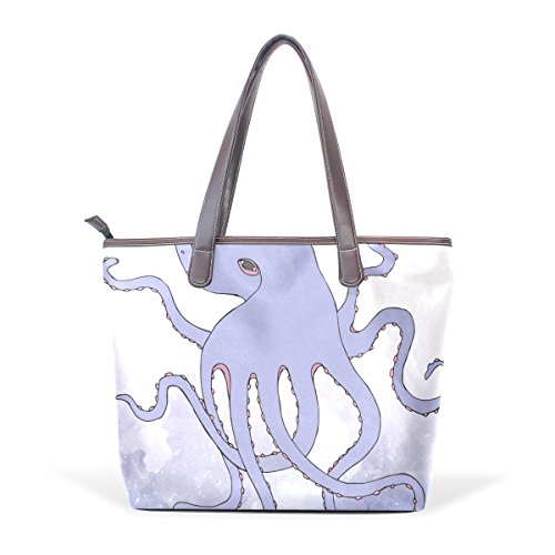 Handbag Shoulder Top Patern Women Handle Tote Abstract Octopus Art Bennigiry Blue Ladies Large Bags tpwXOnqW