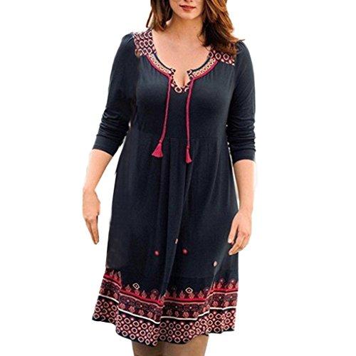 übergröße kleider vintage damen Kolylong® Frauen V-Ausschnitt lose Bandage Kleid  Abendkleid elegant kleid a4ca34cc5b
