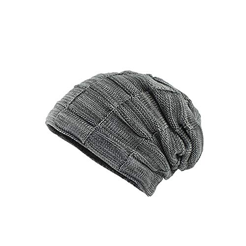 CUCUHAM Men's Thicken Warm Knit Beanie Crochet Winter Knit Skull Slouchy Caps Hat ()