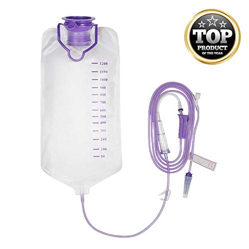 Denshine 1200ML Enteral Delivery Gravity Bag Set, Disposable Enteral Nutrition Bag, Gravity Feeding Bag