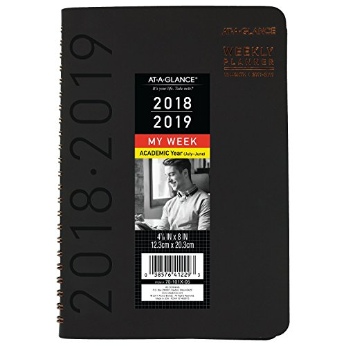 AT-A-GLANCE 2018-2019 Academic Year Weekly & Monthly Planner, Small, 4-7/8 x 8, Contemporary, Black (70101X05) by At-A-Glance