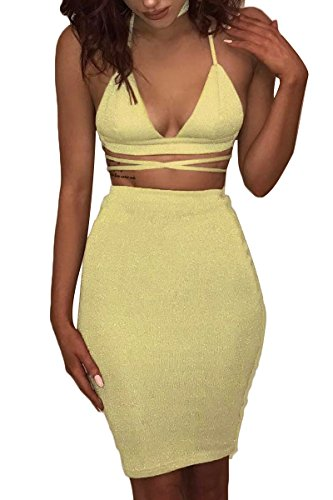 ioiom Two Piece Outfits for Women Halter V Neck Backless Crop Top and Skirt Set Bodycon Stretchy Sequin Dress Yellow L -