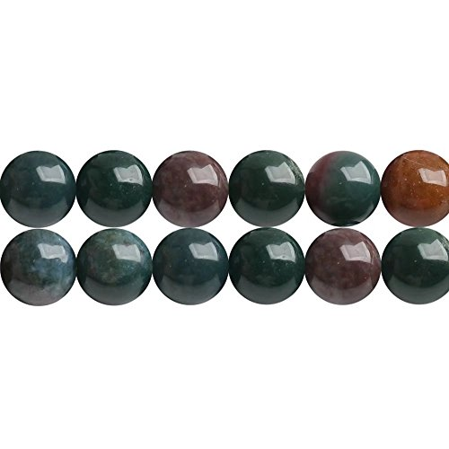 Bloodstone Agate (Real Indian Bloodstone Agate Gemstone Round 8mm Beads for DIY Fashion Necklace Bracelet Earrings Jewelry Gift Craft Making Supplies One Strand 15 Inch Apx 46 Pcs)