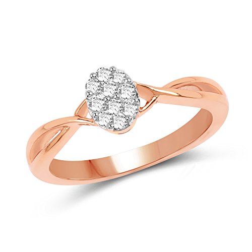 14K Rose Gold 0.21 Carat Genuine White Diamond Ring (G-H Color, SI1-SI2 (0.21 Ct Color)