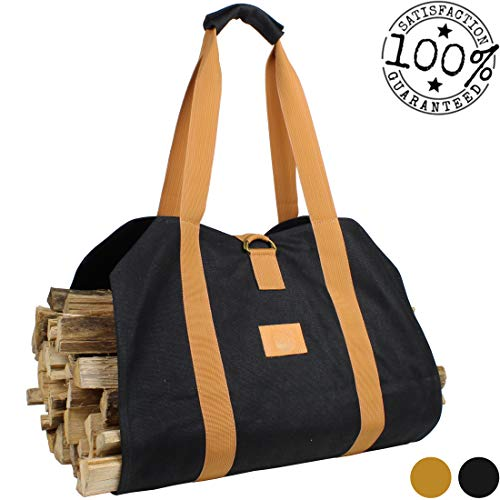 (Off the Grid Firewood Log Carrier Bag - Waxed Canvas Wood Bag - Campfire, Fireplace, Bonfire, Accessories (Black))
