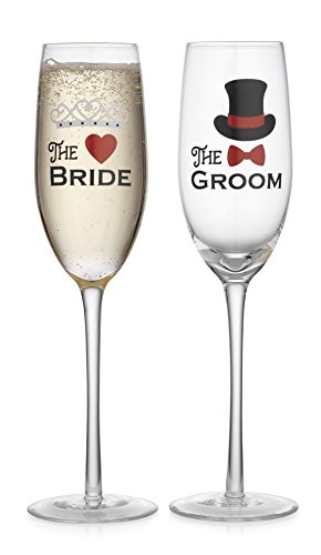 Elegant Home Personalized Wedding Gift Set of Two 19 Oz. Bride & Groom Stemless Wine Glass - unique Novelty - Gag Gift. (Stems) (Elegant Wedding Gift)