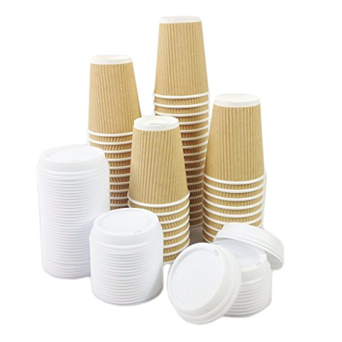 Black Cat Avenue 50 Sets 12oz Insulated Ripple Hot Disposable Coffee Cups with White Lids For Hot Drinks Coffee Cocoa Chocolate Latte Cappuccino for cheap