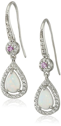 Sterling Silver Simulated Opal, Created Pink Sapphire and Created White Sapphire Tear Drop Earrings