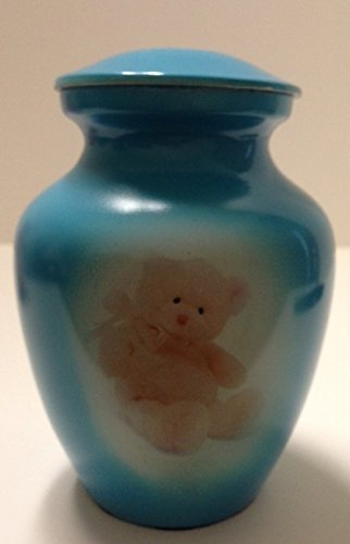 Gorgeous blue teddy bear funeral cremation urn, pet or human infant urns