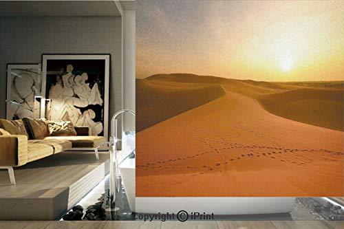 (Decorative Privacy Window Film/Footprints on Sand Dunes at Sunrise Hot Dubai Landscape Travel Destination/No-Glue Self Static Cling for Home Bedroom Bathroom Kitchen Office Decor Dark Orange Yellow)