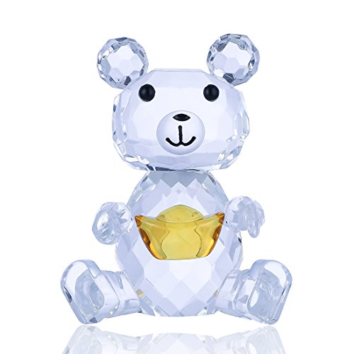 Crystal Baby Bear (H&D Crystal Baby Bear Figurine with Gold Ingot Collection Animal Paperweight Table Centerpiece)