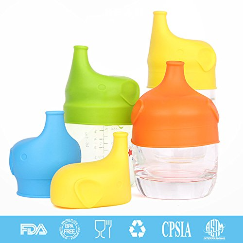 PJYU Silicone Sippy Cup Lids 5 Pack Elephant Silicone Spout Spill-Proof Sippy Cup for Babies and Toddlers (Smile Spout Soft)