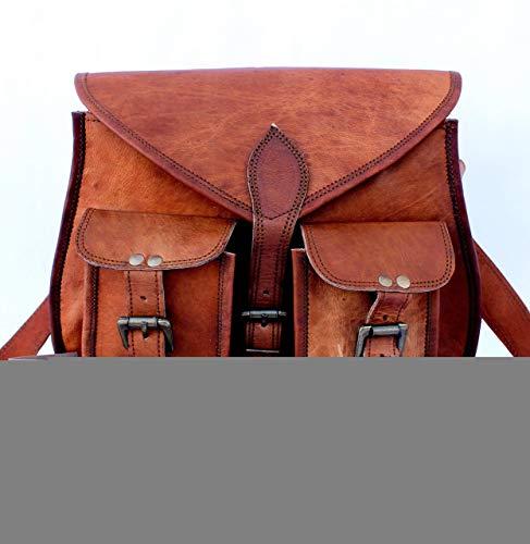 Shakun Leather Handmade Women Vintage Genuine Cross Body Bag Double Pocket Front Satchel, 10 x 13 Inch ()