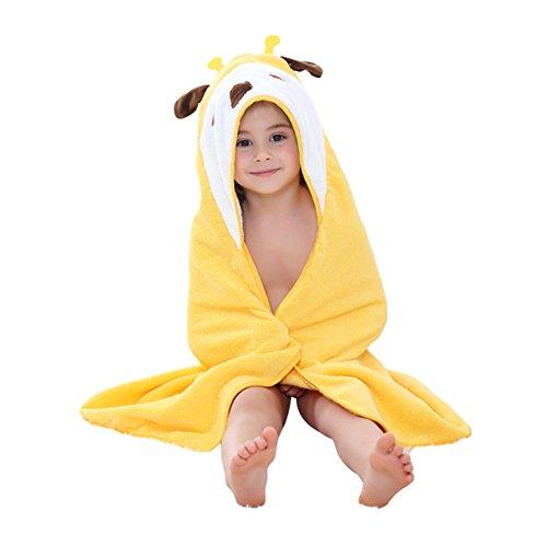 Newborn Boys Girls 0-6Y Bathrobe Cozy Breathable Hooded Animal Towel Sleeper (Yellow Giraffe)