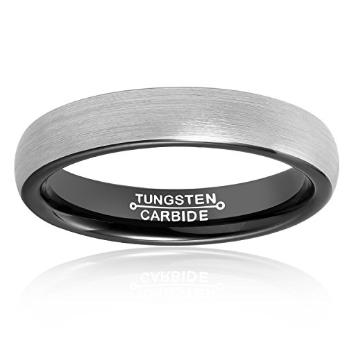 MNH Mens Rings Tungsten Carbide Black Plated Women Wedding Engagement Band Comfort Fit Matte Finish by MNH (Image #1)