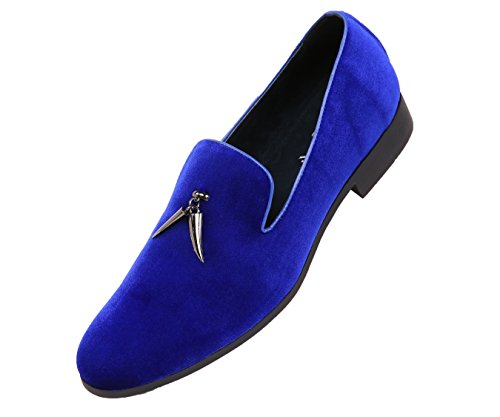 Amali Mens Slip On Velvet Smoking Slipper, Casual Nightclub Shoe with Tassle, Rhinestone Band or Paisley Royal Blue (Loafers Blue)