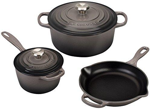 Le Creuset 5 Piece Signature Enameled Cast Iron Cookware Set, Oyster