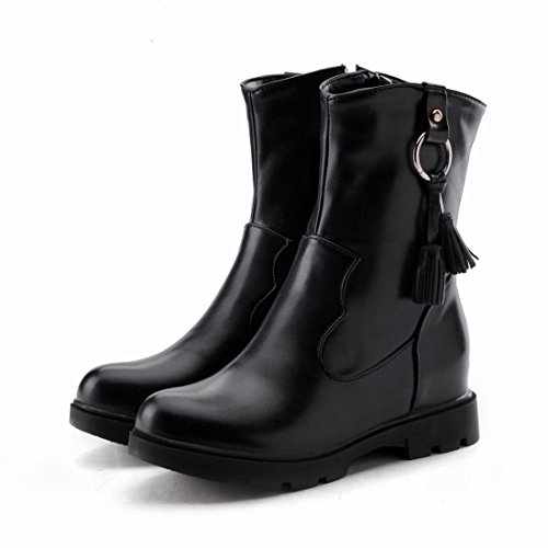 Agodor Womens Flat Platform Mid Calf Boots With Zip Closed-Toe Autumn Winter Shoes Black HhVxgSAu