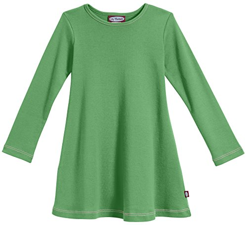 City Threads Girls' Cotton Long Sleeve Dress for School Party Dress Play Base Layer for Sensitive Skin SPD Sensory Friendly, Elf Green, ()