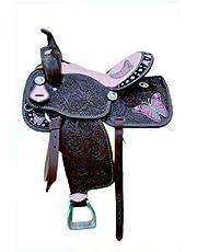 "RAJ, INTERNATIONAL Youth Child Premium Leather Western Barrel Racing Pony Miniature Horse Saddle, Size 10 to 13"" Inch Seat Available"